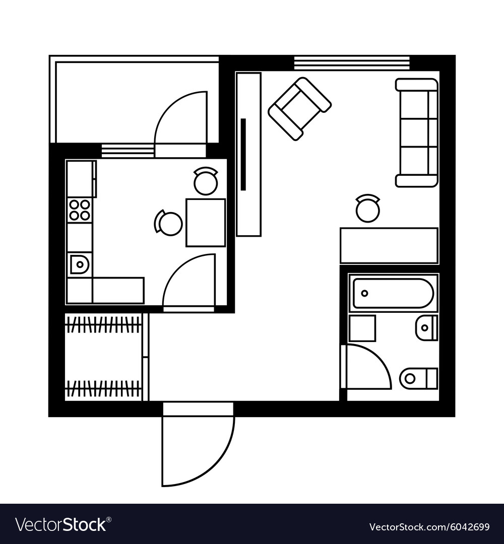 floor plan furniture vector. Floor Plan Of A House With Furniture Vector Image