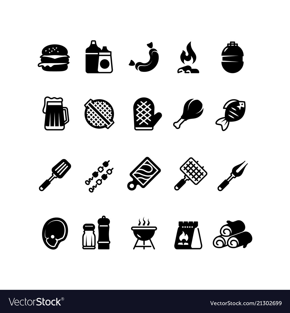 Grill outdoor kitchen icons family bbq summer