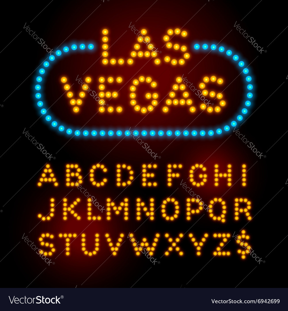 Light bulb font alphabet with casino effect