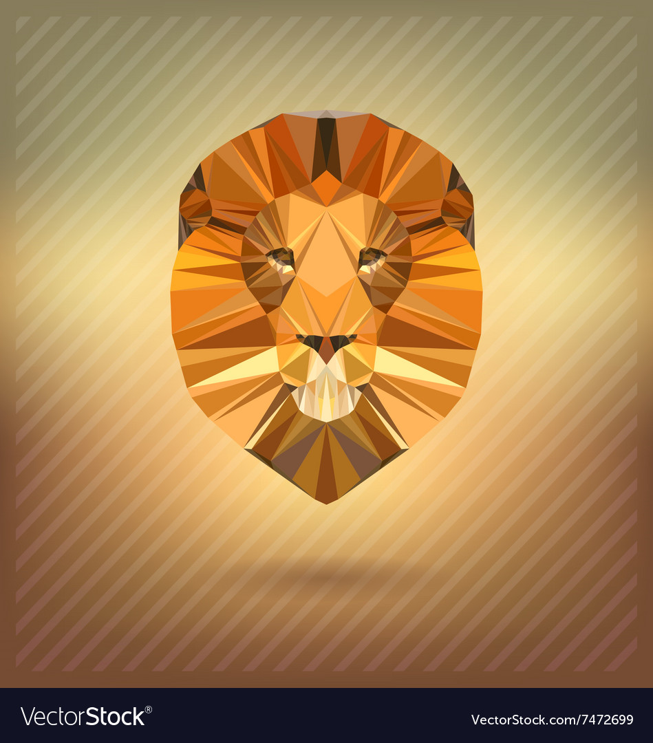 Lion In The Style Of Origami Abstract Vector Image