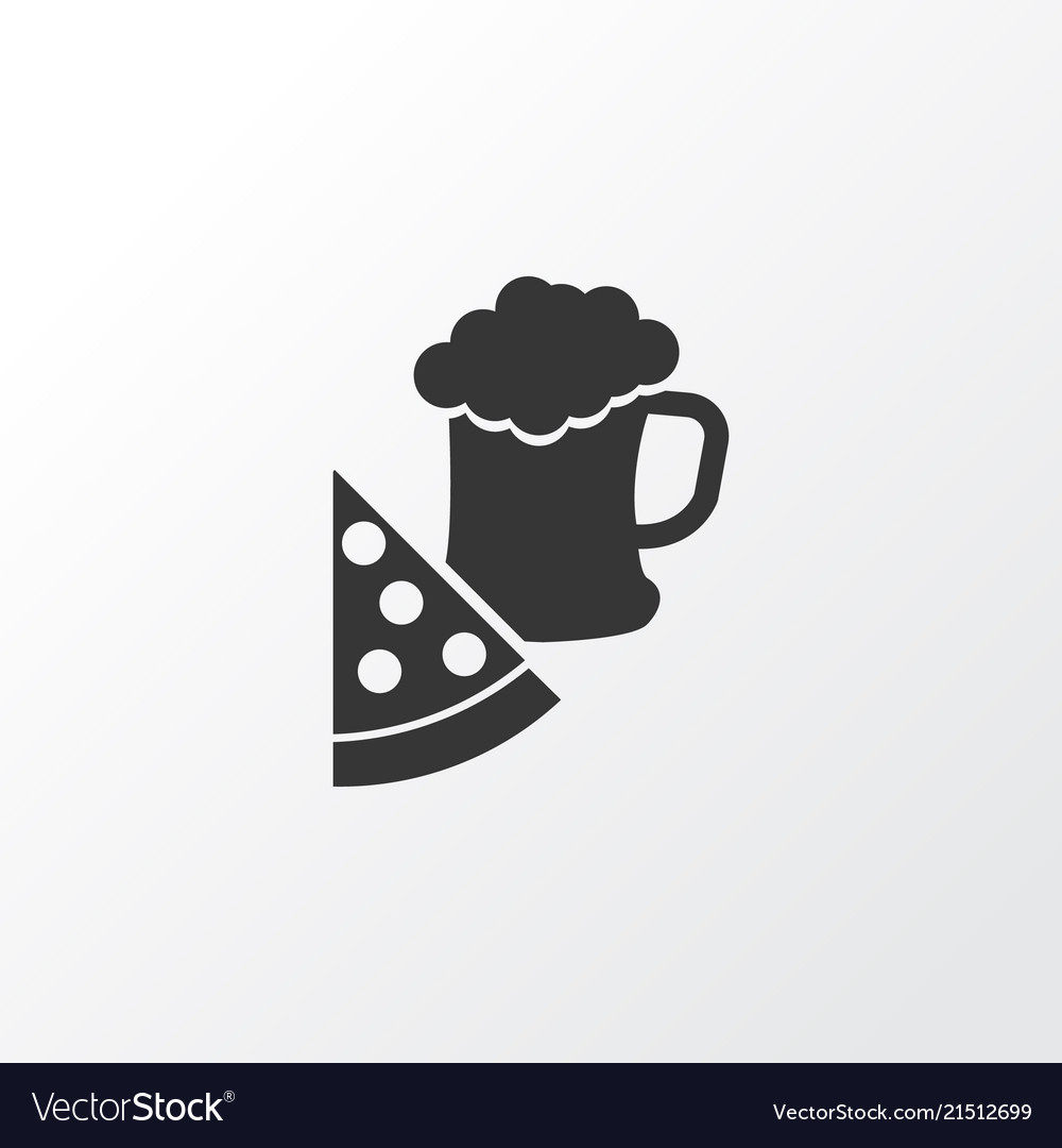 Pizza With Beer Icon Symbol Premium Quality Vector Image Ready to be used in web design, mobile apps and presentations. vectorstock