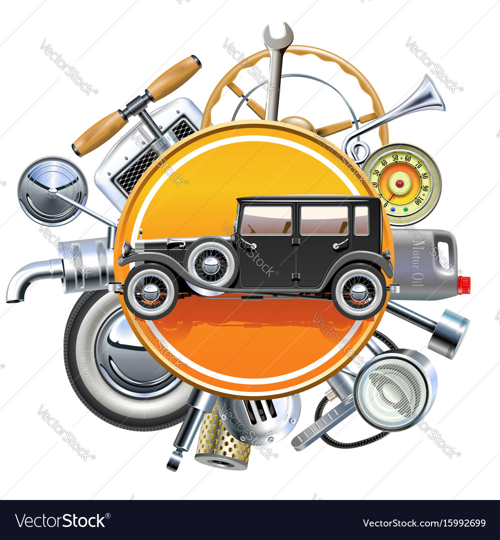 Retro car parts with old automobile Royalty Free Vector