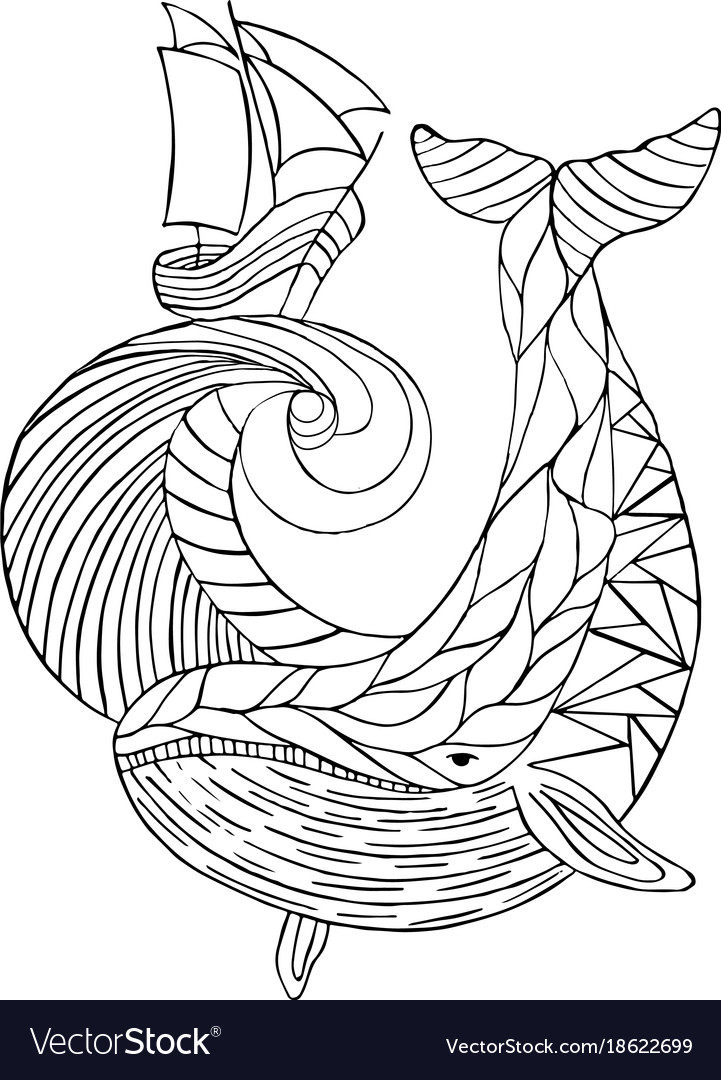 Sea dudling drawing hand-drawn whale wave