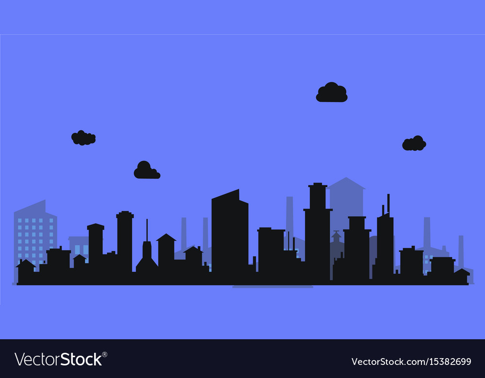 Silhouette level city with clouds and purple