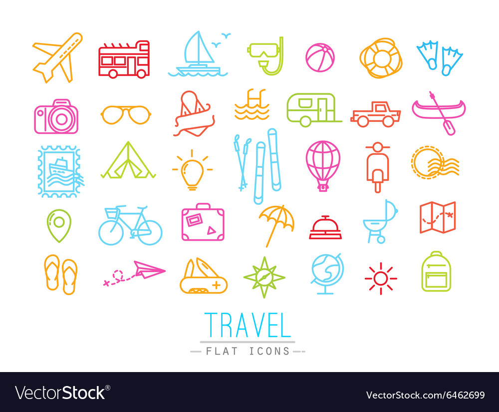 Travel flat color icons