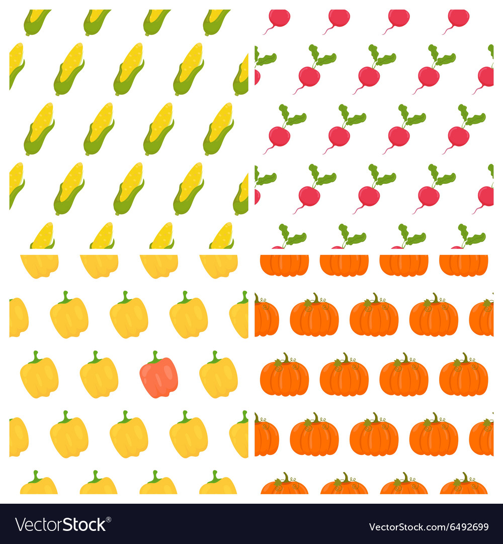 Vegetables seamless patterns set Healthy food
