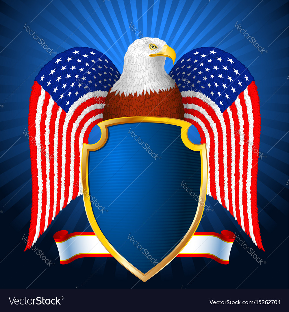 d1c7e4f78d20f American eagle flag wing shield Royalty Free Vector Image
