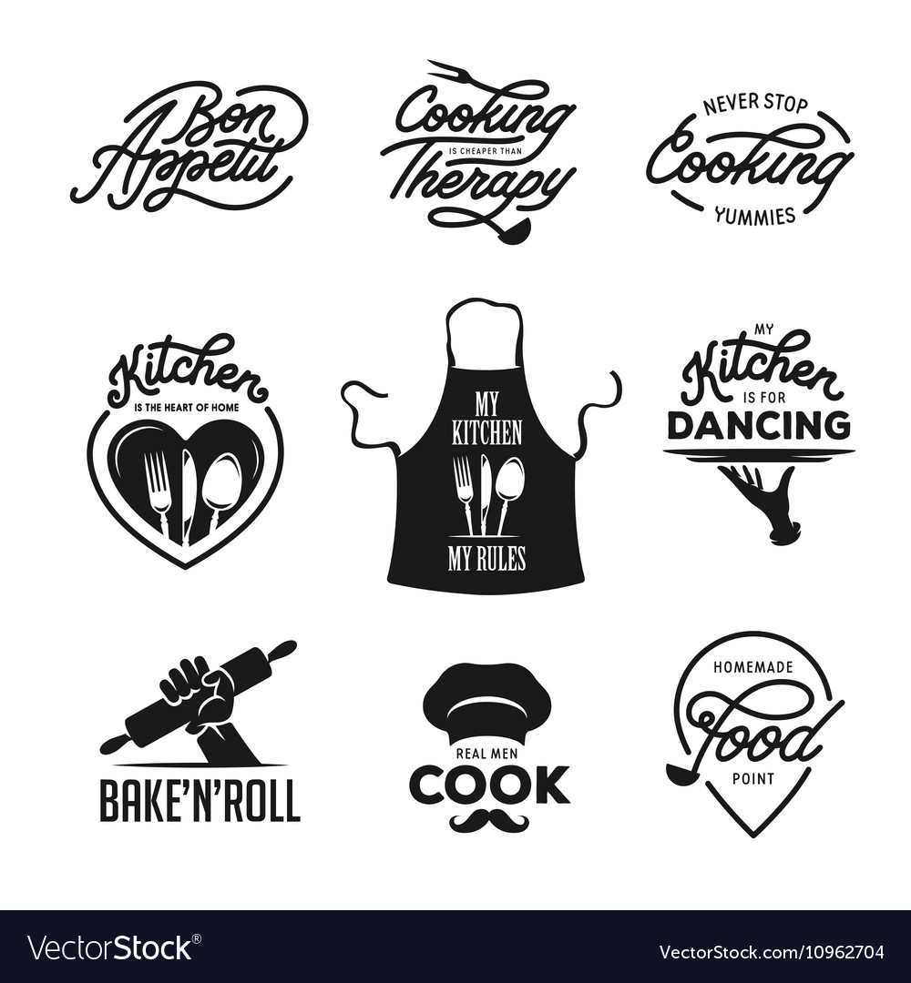 Cooking and kitchen related quotes set Poster Vector Image