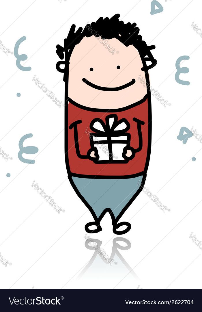 Cute boy with present box cartoon for your design vector image