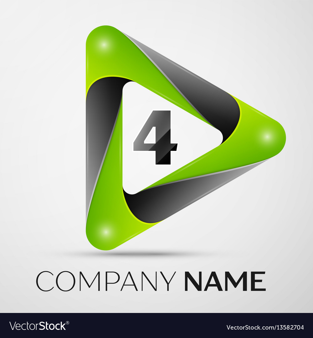 Number four logo symbol in the colorful triangle