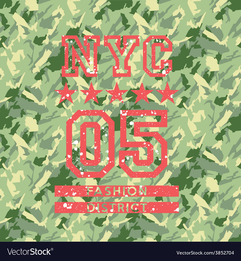 NYC fashion army style vector image