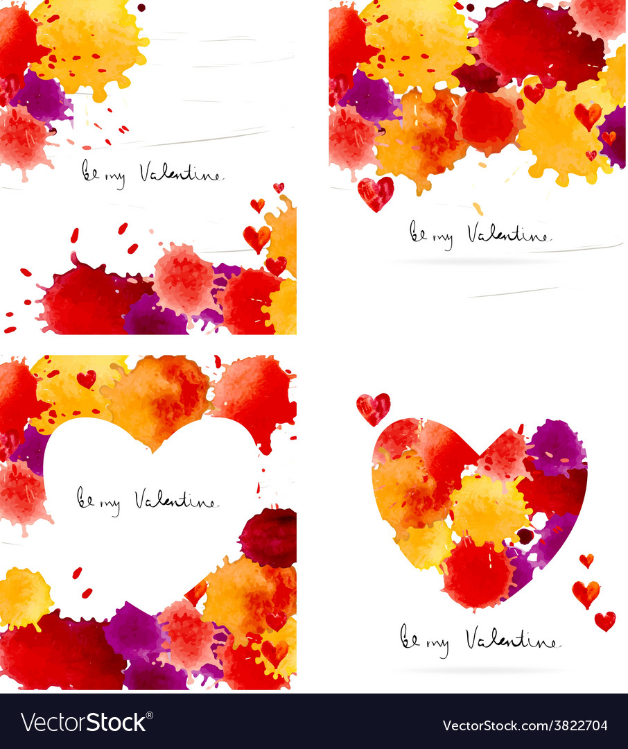 Watercolor colorful blot and heart frame