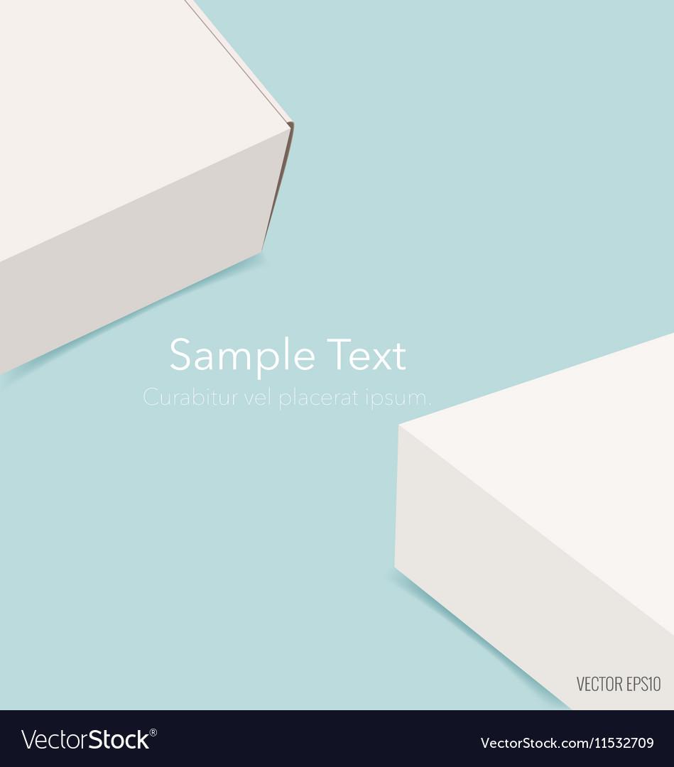 Blank white box mock up on blue background vector image