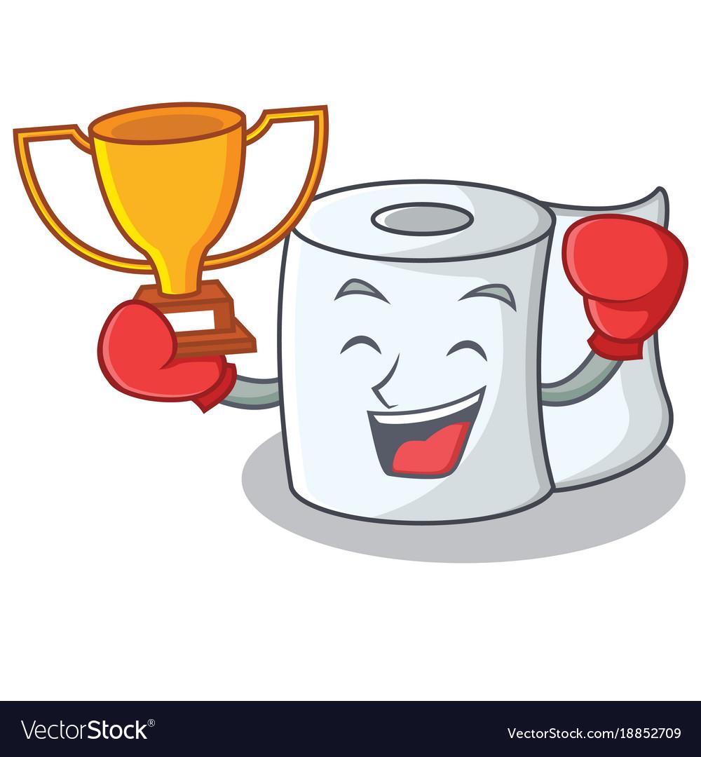 Boxing winner tissue character cartoon style