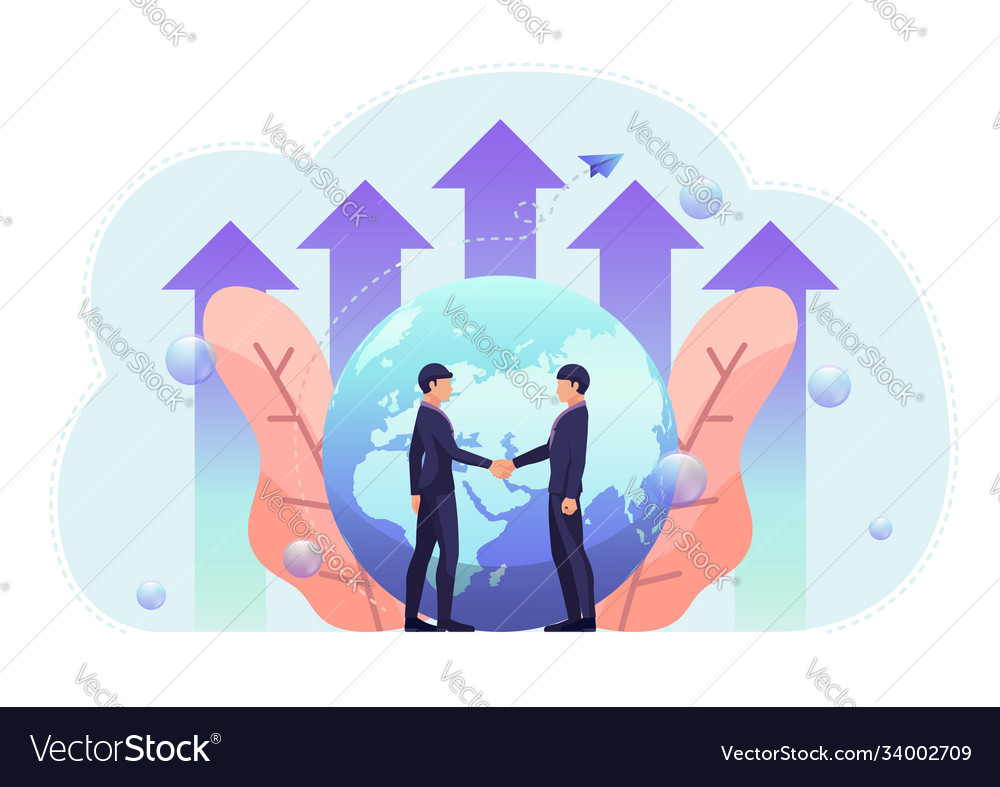 Business people shake hand with world and growth