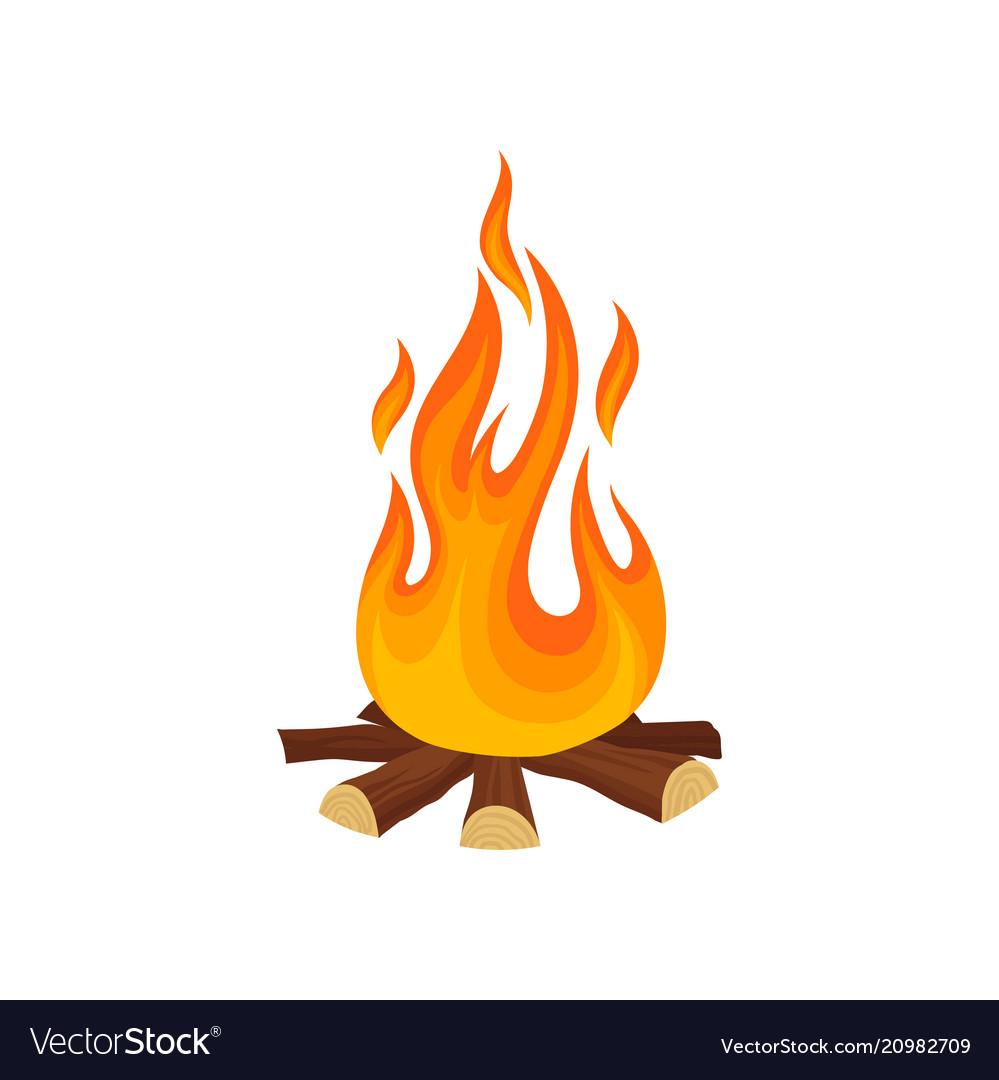 Cartoon Icon Of Bonfire Campfire Tree Logs And Vector Image