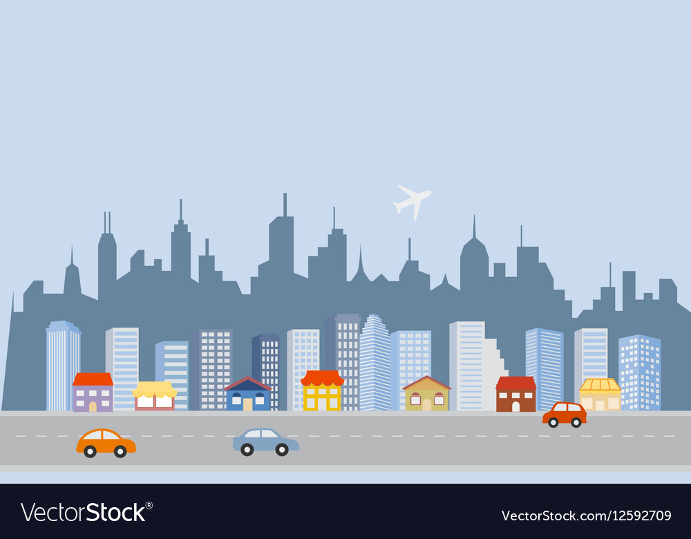 Cityscape downtown skyline vector image
