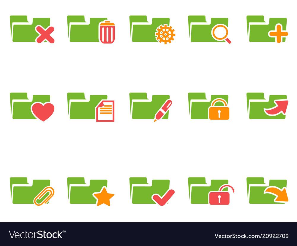 Color file folder icons set
