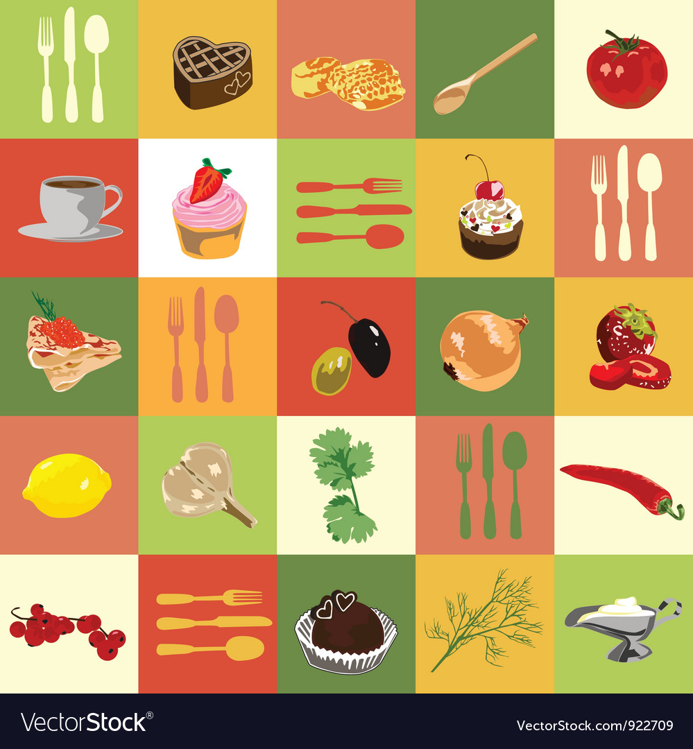 Colored squares with food vector image