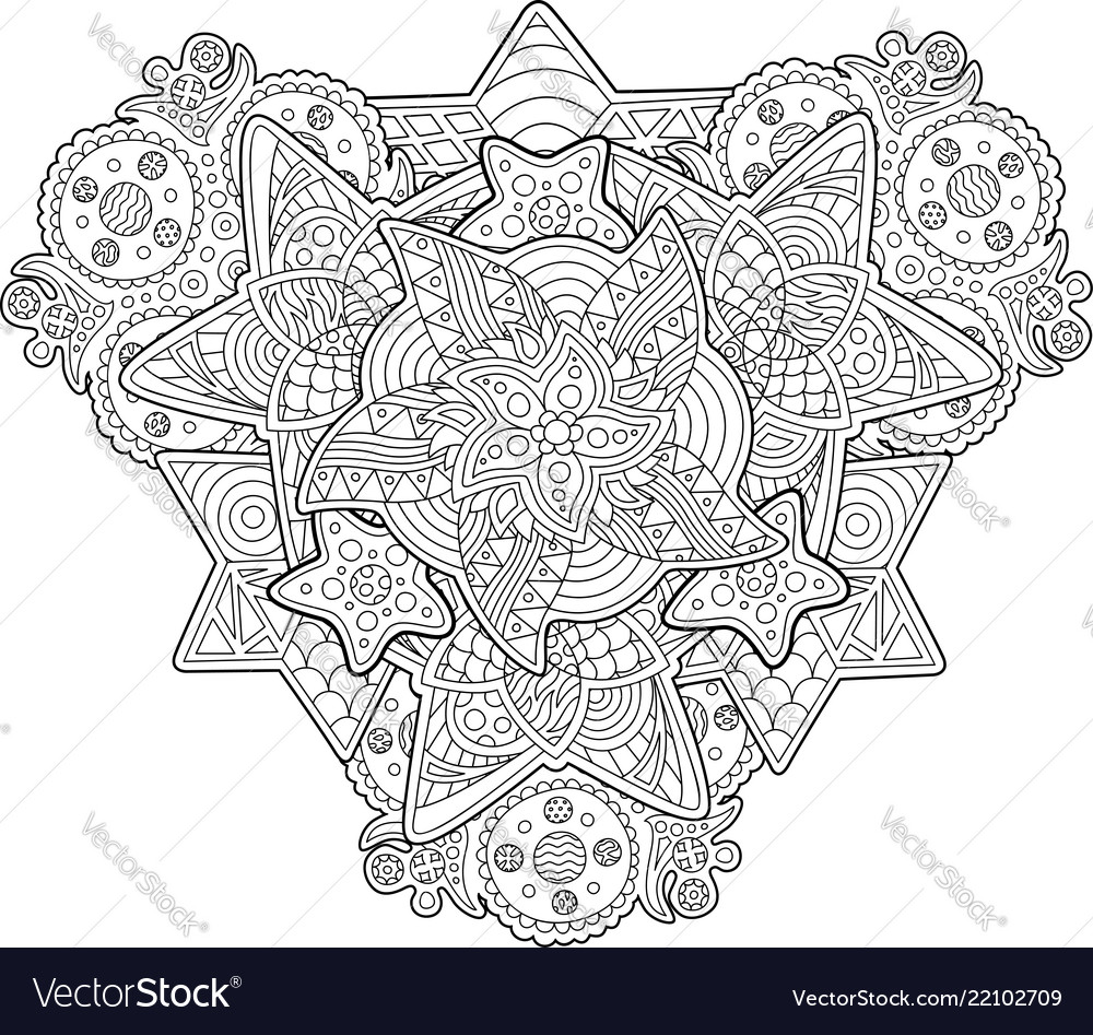 Coloring book page with shapes of the stars Vector Image