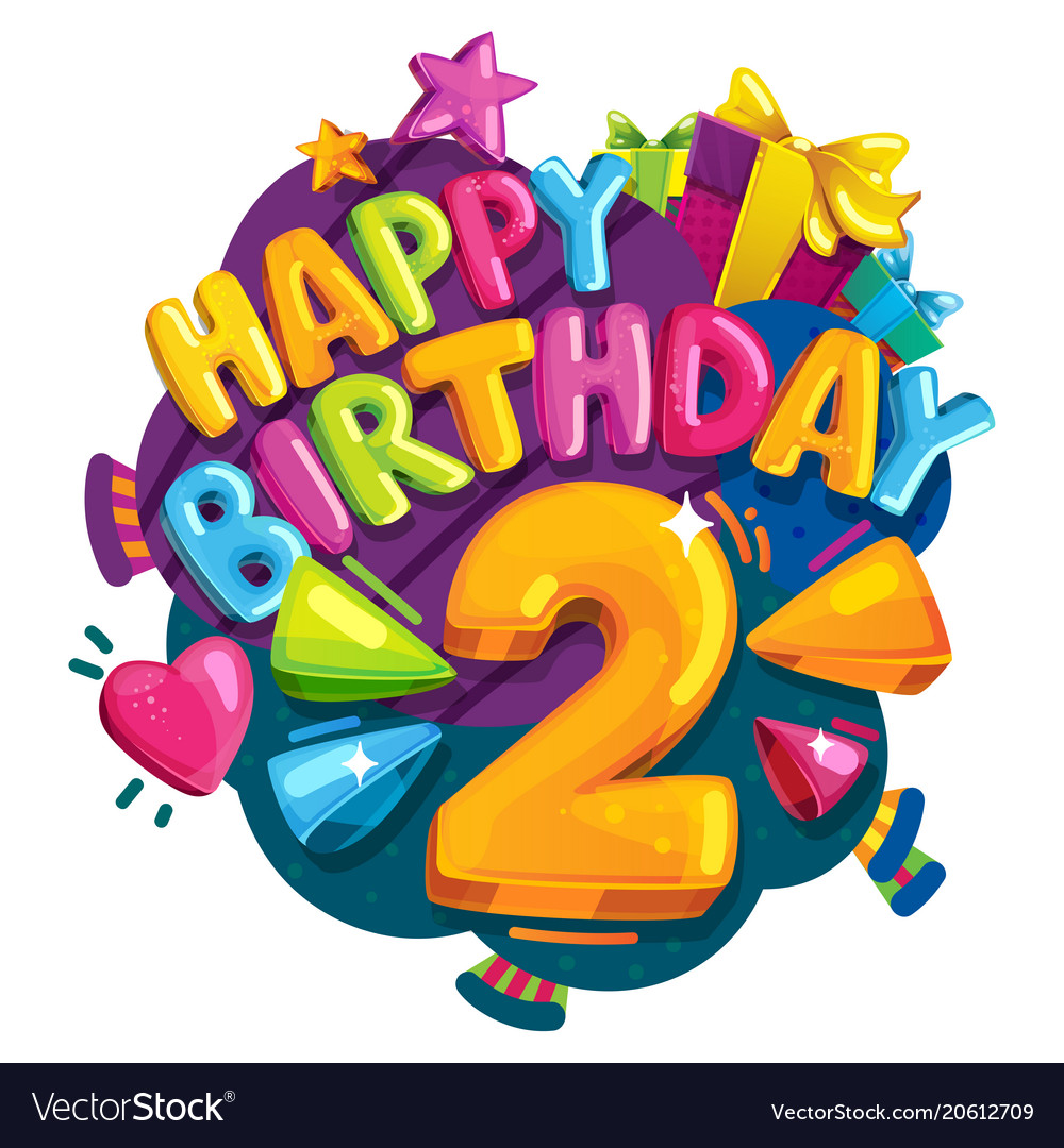 happy birthday 2 years royalty free vector image