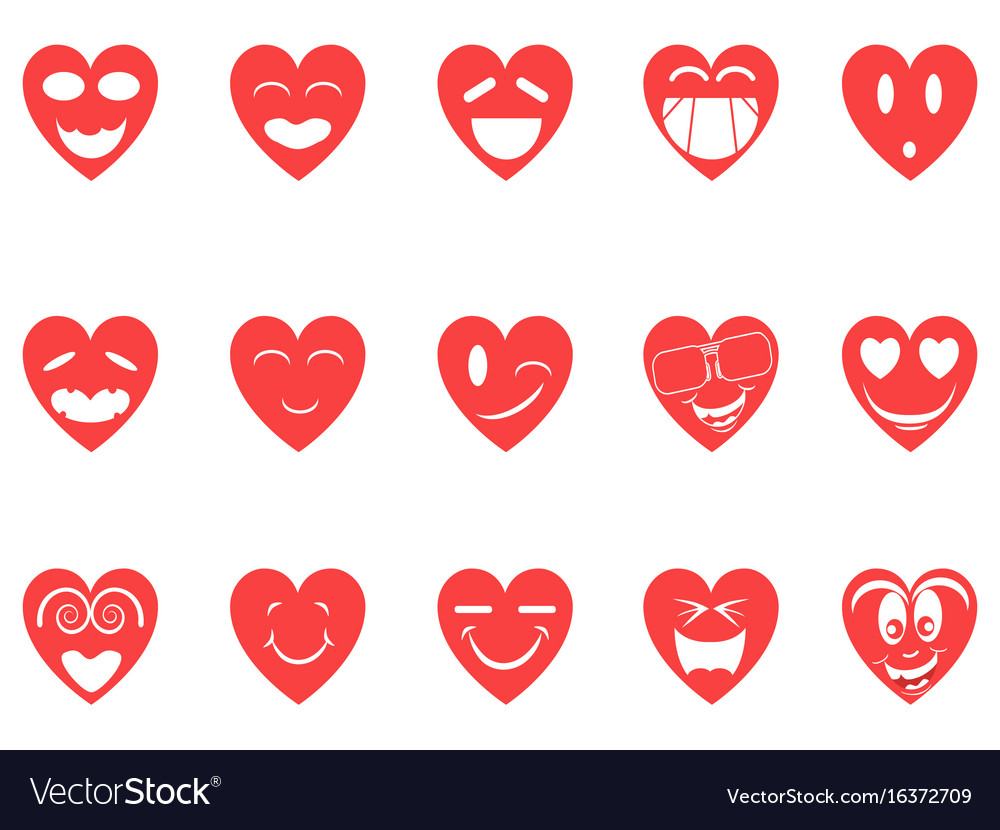 Heart smiley icons set