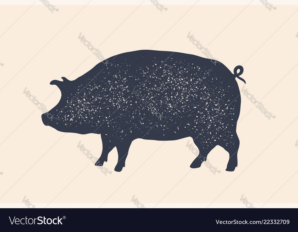 Pig pork vintage logo retro print poster for