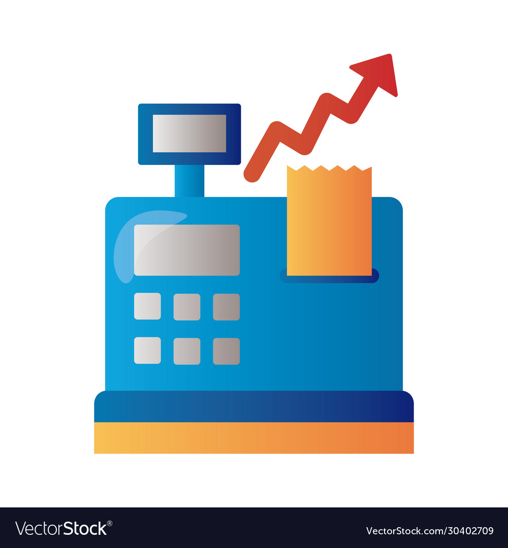 Register machine with price hike arrow up