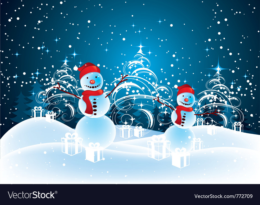 Snowmen in christmas landscape Royalty Free Vector Image