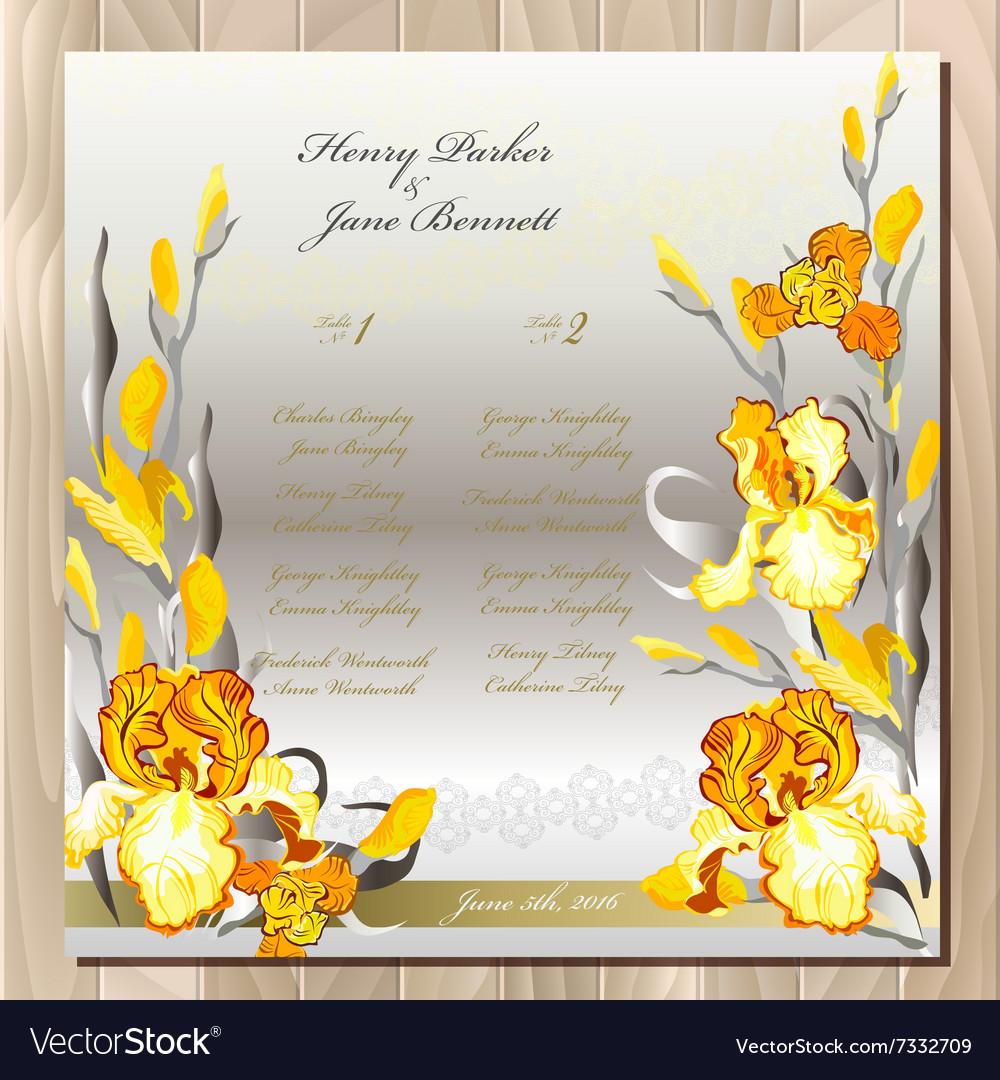 Table guest list yellow iris flowers design vector image mightylinksfo