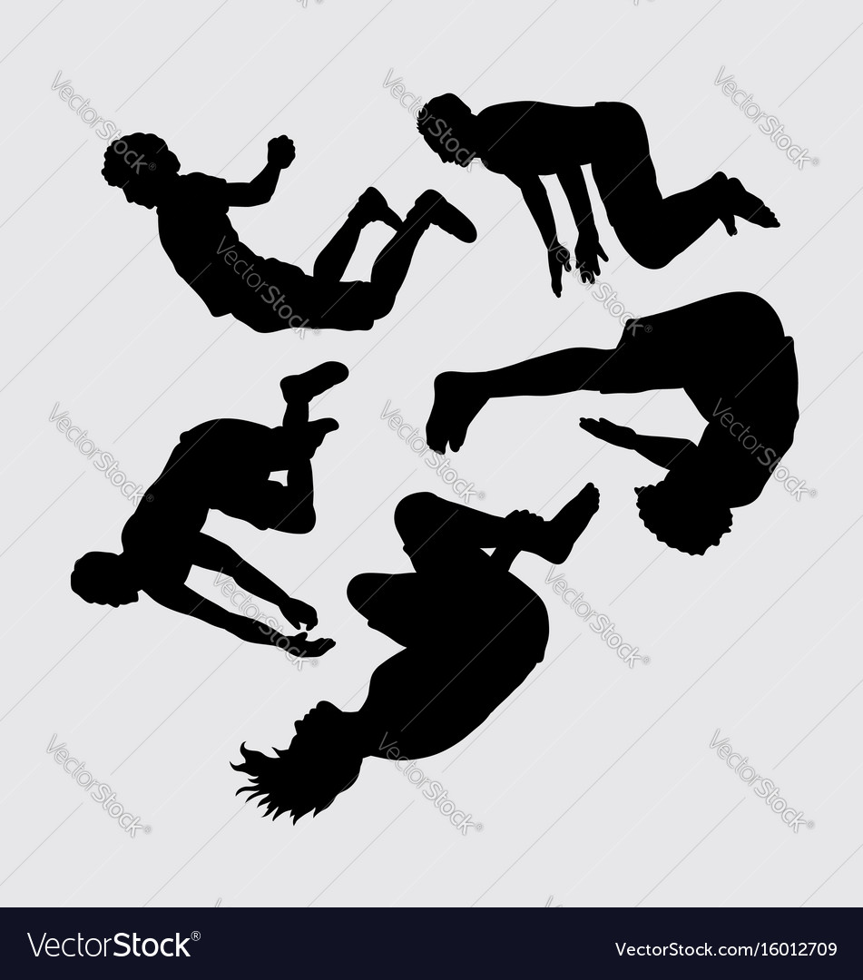 Teen people jumping silhouette vector image