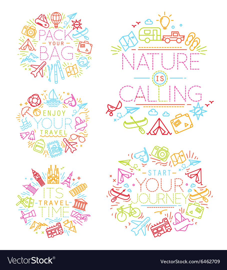 travel monograms color royalty free vector image