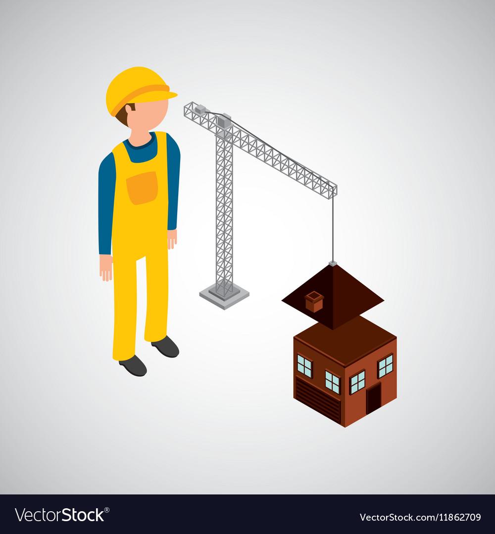 Under construction worker house crane