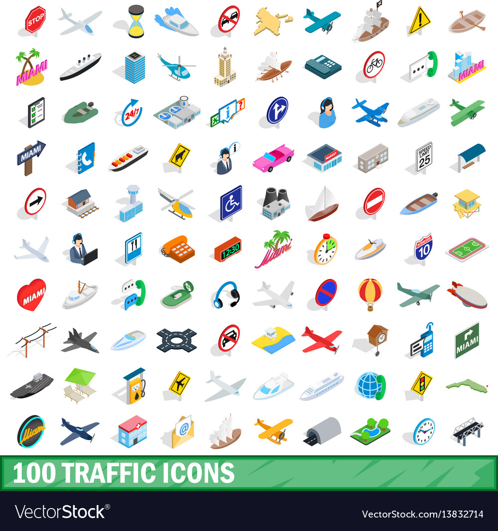 100 traffic icons set isometric 3d style