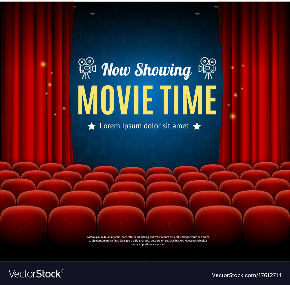 Cinema Movie Time Background Card Royalty Free Vector Image