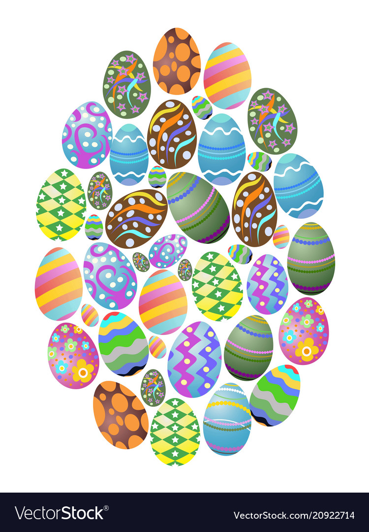Colorful easter eggs group background vector image