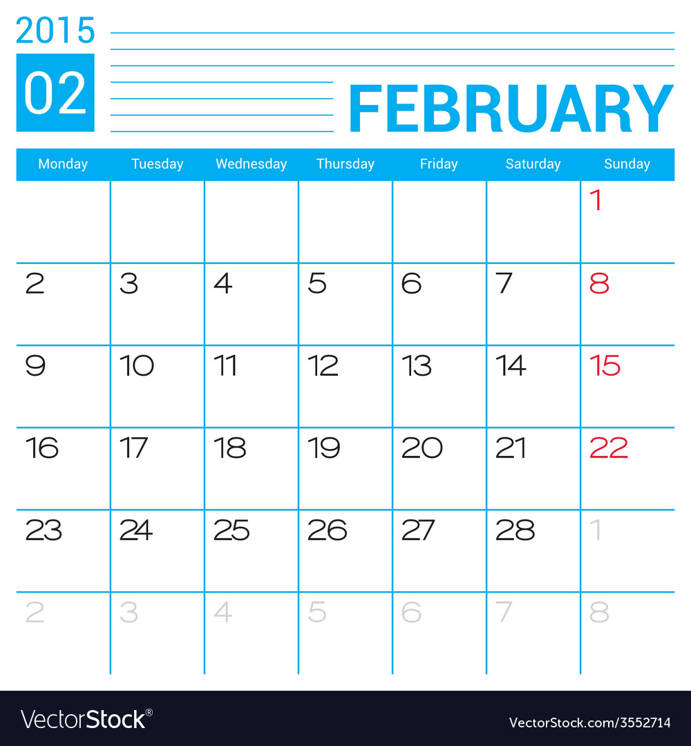 February 2015 Calendar Page Template Royalty Free Vector