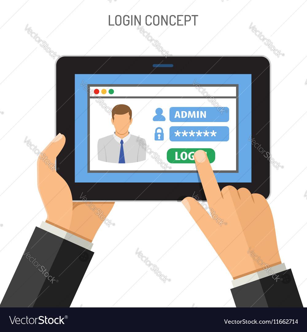 Login concept on tablet PC