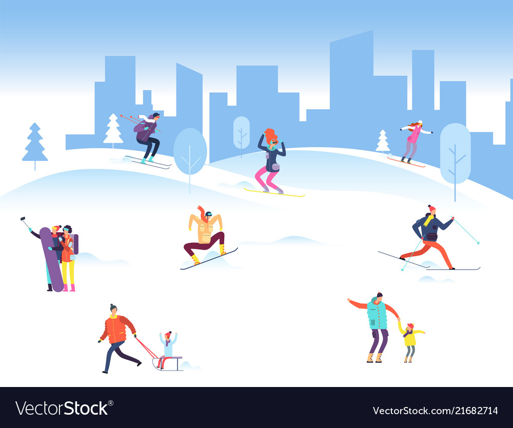 Christmas Sports Background.Merry Christmas Background With People In Winter