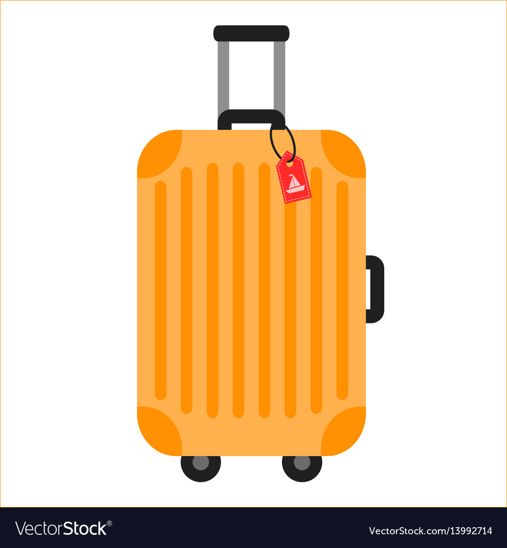 Orange travelling baggage suitcase