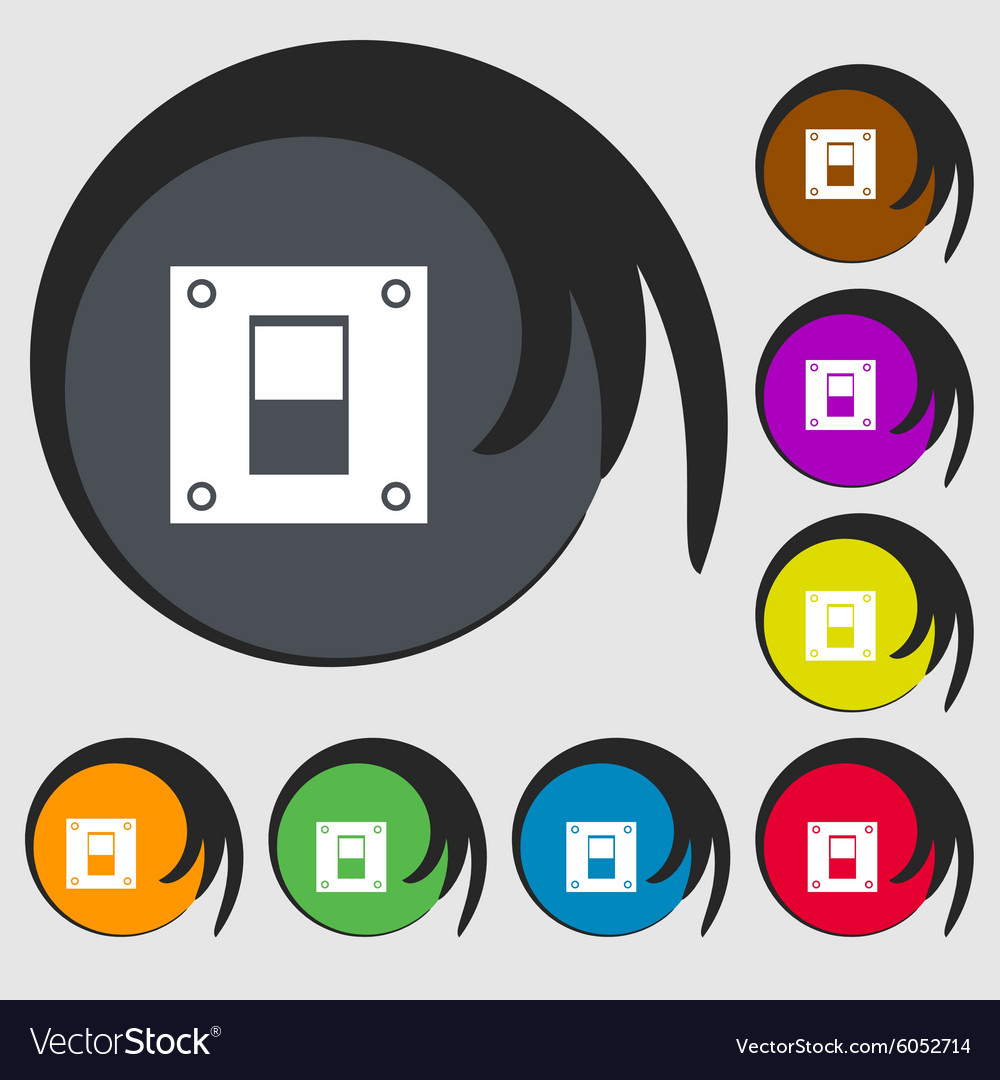 Power switch icon sign Symbols on eight colored Vector Image