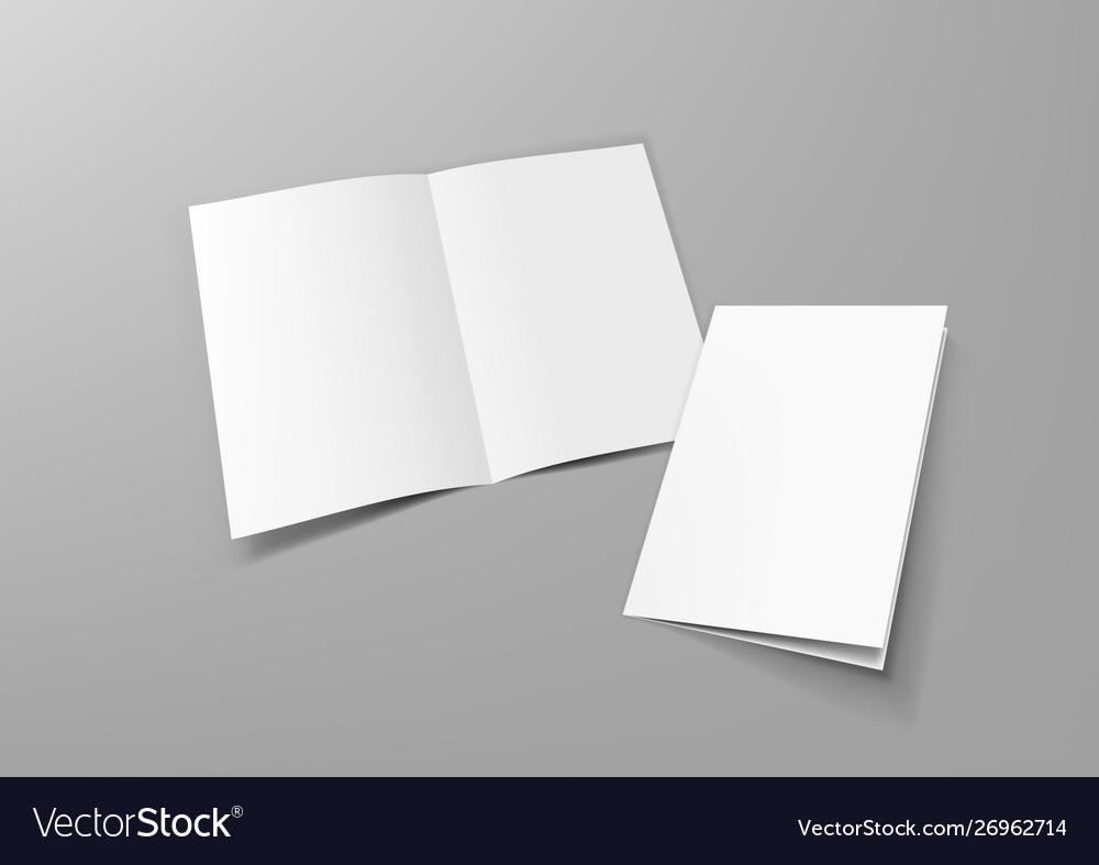 Realistic blank a4 half-fold brochure mock up