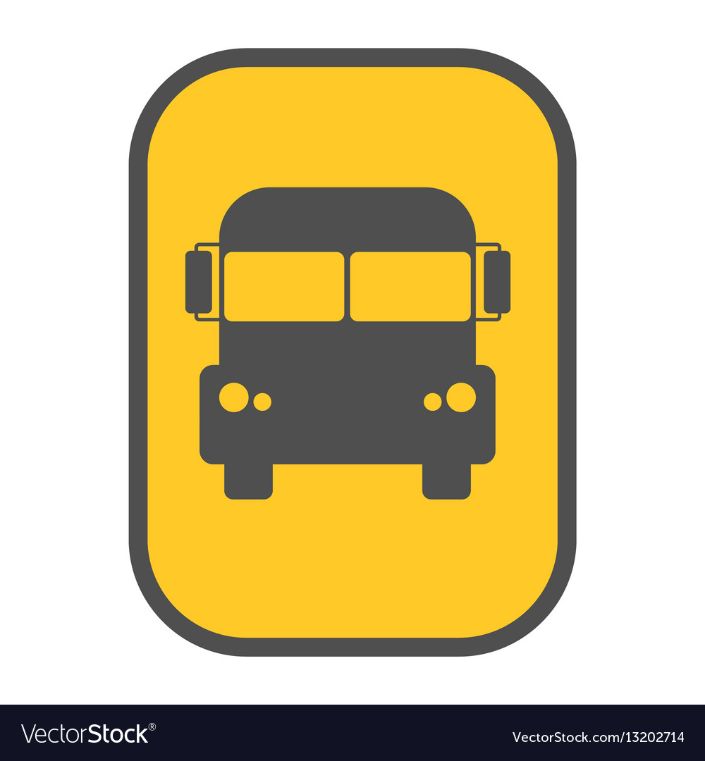 School bus sign yellow map pointer