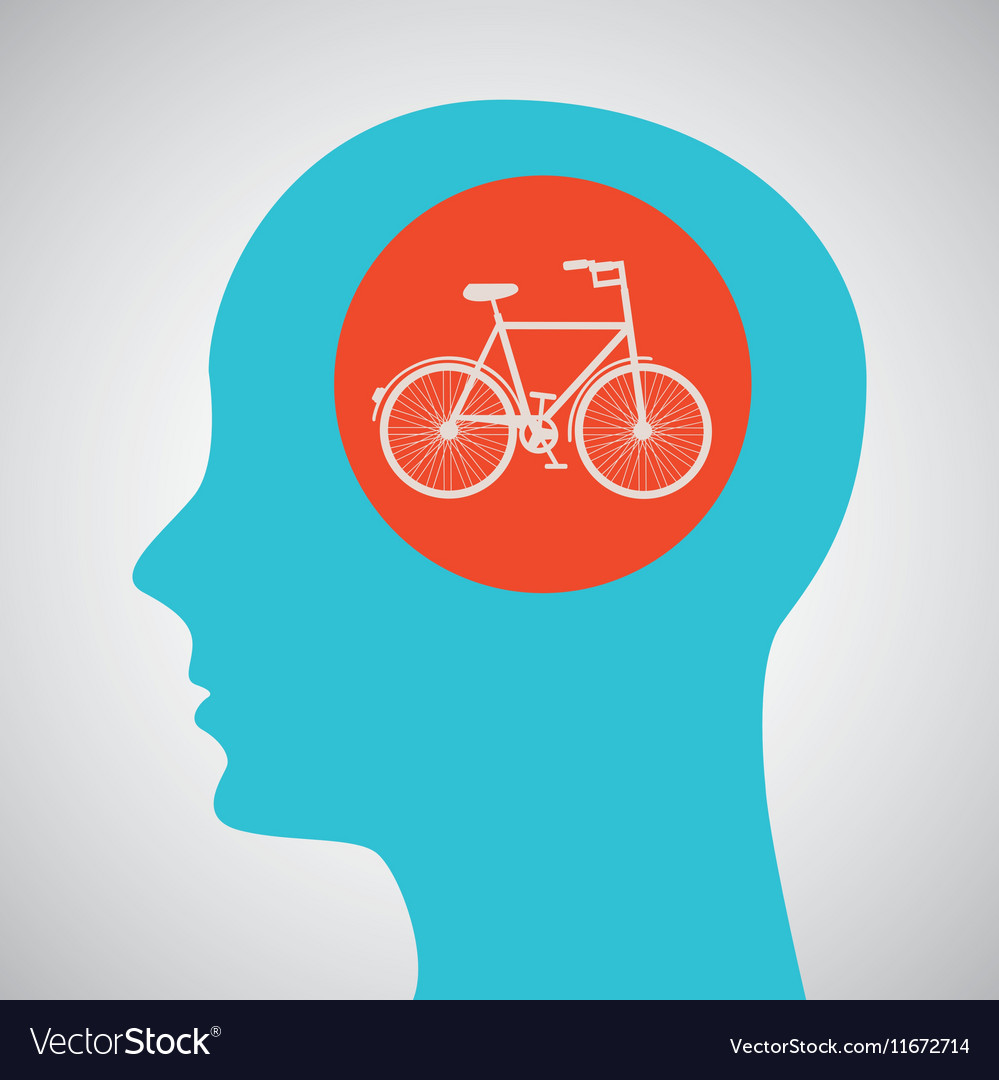 Silhouette head bicycle icon graphic