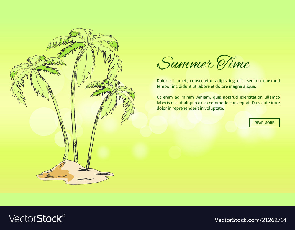 Summer time poster with palm trees growing on sand