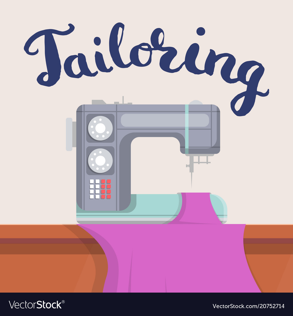 Tailor shop banner with sewing machine