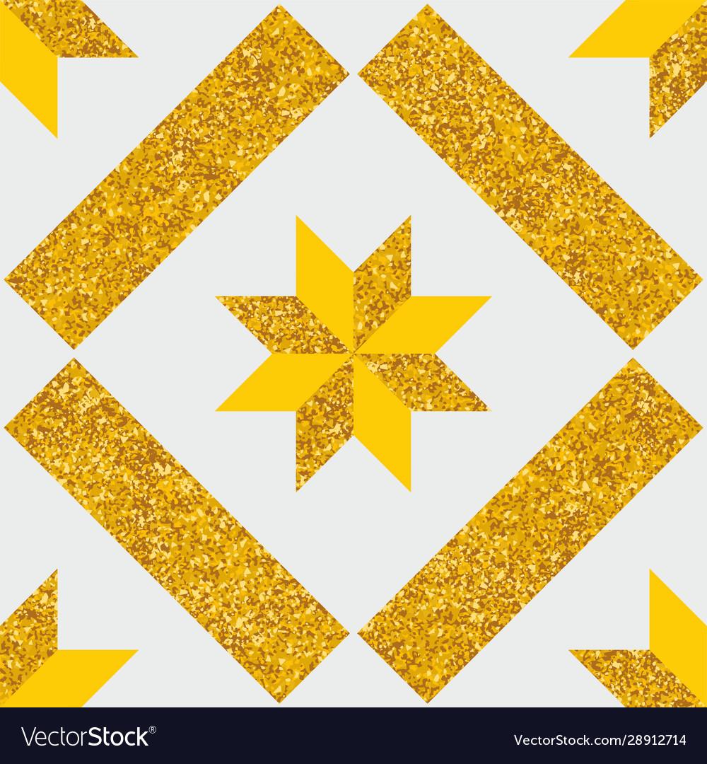 Tile decorative floor pattern or gold background