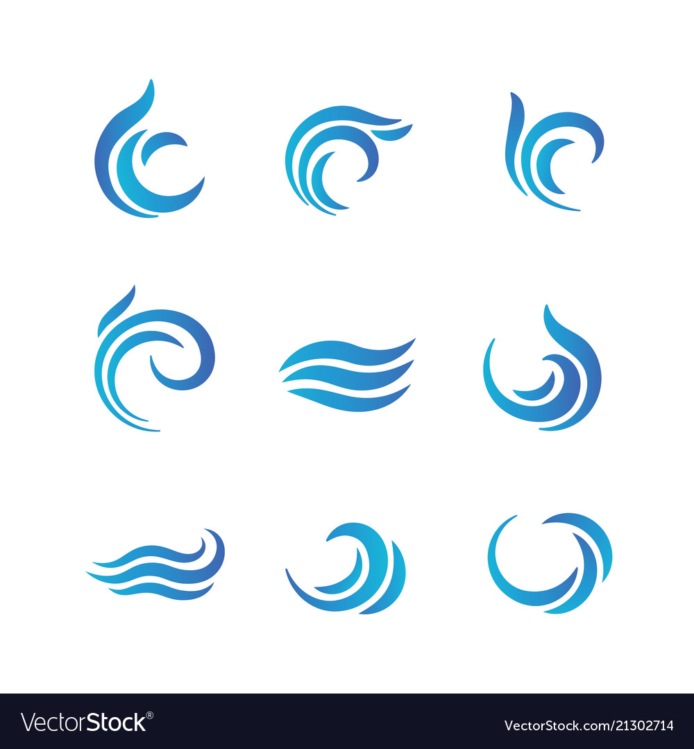 Wave logos blue water waves with splashes