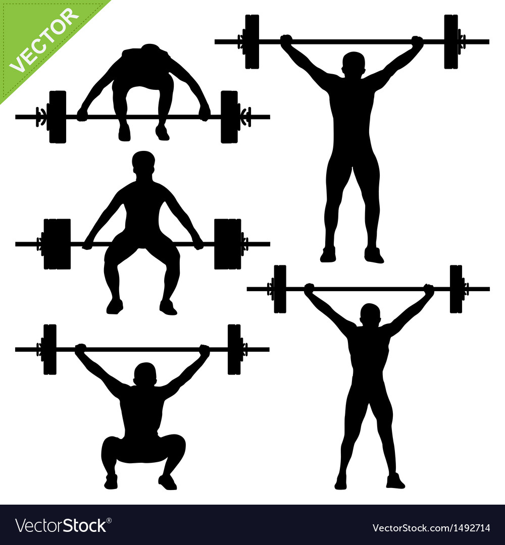 Weight-lifting silhouettes vector image