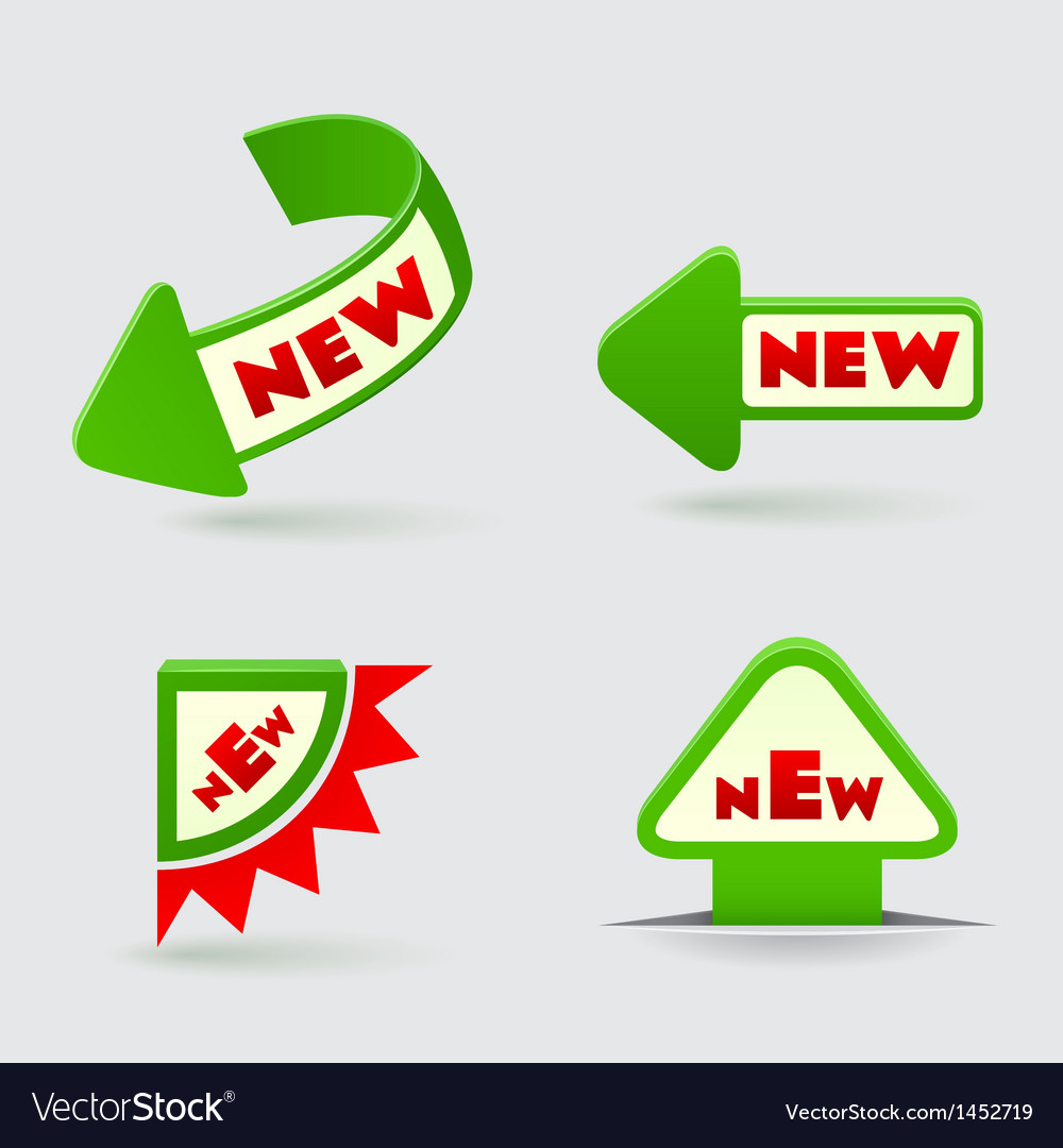 3d green arrow labels royalty free vector image
